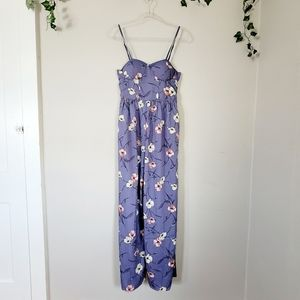 BOG Collective jumpsuit lavender floral pockets